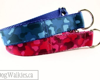 "Pink or Blue Camo Print Dog Collar // 1"" (25mm) Wide // Choice of color, size and style // Martingale or Quick Release // Fuchsia // Camo"