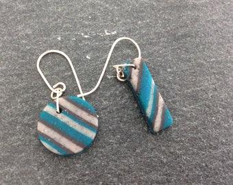 Mismatched earrings - polymer clay earrings - stripy - Hook earrings