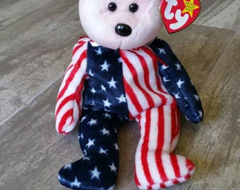 Spangle Bear Ty Beanie Baby Red White Blue Vintage Collectible 4th of July  Americana Patriotic Stars 4cb126ba5d8a
