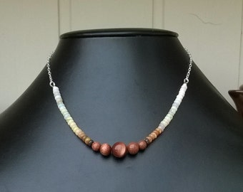 Opal and goldstone sterling silver necklace.