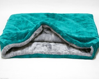 Snuggle Sack/ Sleeping bag/ Pet bed for cats or dogs by Lola's Pet Teal Green Blue & Grey