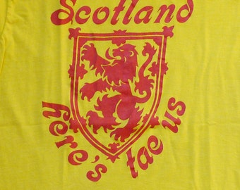 Vintage 80s Scotland Here's Tae Us Yellow T-Shirt