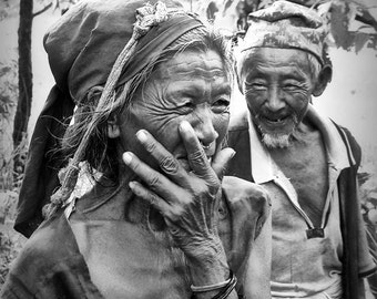 Travel Photo Couple, Nepal,  Black and White, Valentines Day, Portrait,  Fine Art Print, Ethnic, Old Man Woman, Nepalese couple - True Love