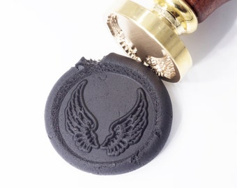 Wings Wax Seal Stamp   Feathers Flying Peace Angel   Spread Wing 001   Angal Wing   Wax Stamp   Seal Stamp