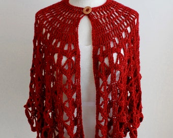 Bordeaux Fashion Cape Crochet Pattern PDF