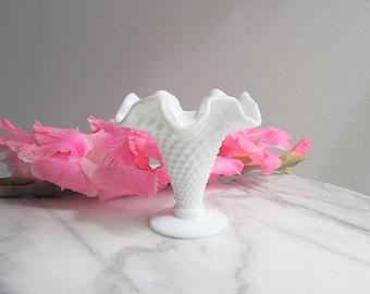 Vintage Milk Glass Hobnail Vase, Small Flower Vase, Wedding Vase, Wedding Decor, Fenton Vase