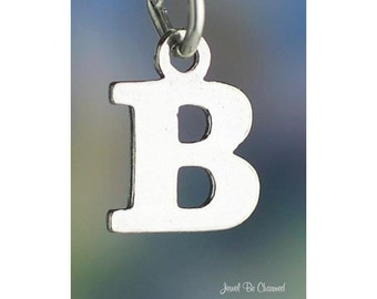 Sterling Silver Small Letter B Charm Initial Capital Letters Solid 925