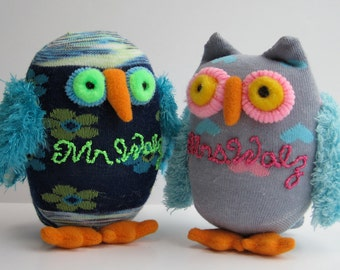 WHO-WHOSE personalized large owls, child safe sock toys are a real Hoot