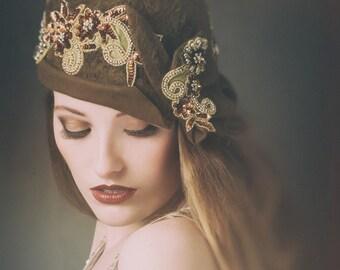 Brown long nap fur felt cloche with gold applique Downton Abbey Flapper 1920s