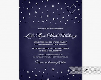 Starry Night Wedding Invitations   Printed, Navy Blue Chalkboard Bridal  Shower Engagement Constellation Under The Stars White Heart   #W18