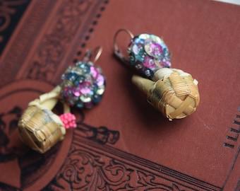 Vintage OOAK Picnic Dangle EArrings, Dollhouse Food Earrings, Leverback Pierced Earrings for her