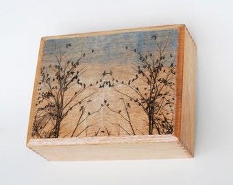 Cigar Box art, etching mounted on box
