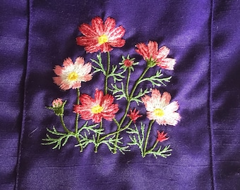 Violet Shantung Yoga Mat Bag with flower embroidery
