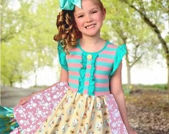 Girls Easter dress Peter Rabbit dress Beatrix Potter Momi boutique custom girls dress