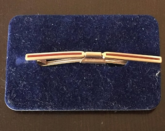 Vintage Gold and Red Enamel Collar Clip - 2 1/2 Inches Long