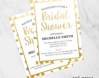 Printable Shower Invitation, Bridal Shower Invitation, Pretty Invitation, Gold Shower Invitation, Bridal Shower Invitation with Polka Dots