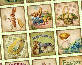 Easter Bunnies and Chicks Printable Squares / Easter / Spring / Chickens - Printable DOWNLOAD 1x1 Inch Squares Digital JPG Collage Sheet