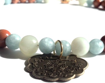 Chinese Zodiac Necklace, Unisex, New Jade Amazonite and Wood, Asian Jewelry, Oriental Sun Signs