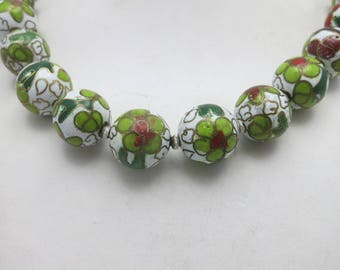 Chinese cloisonne bead necklace White green Seventies