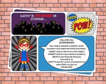 Superhero invitation, girl superhero, superhero birthday party, super hero birthday party, super girl birthday invitation, super hero party