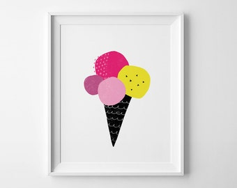 Neon Ice cream print, Scandinavian art, wall art print, coral nursery art, minimalist decor, kids wall art, nursery print, Mini Learners art