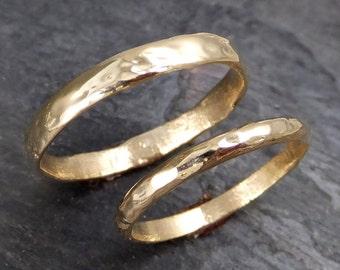 Custom Wedding bands (5mm his) gold textured wedding rings Wedding Set byAngeline Recycled gold