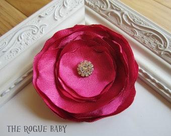 Hot Pink Fushia Satin Hair Clip - Crystal Diamond Pearl Center. Wedding Bridal Flower Girl. Photo Prop Toddlers Girls Women