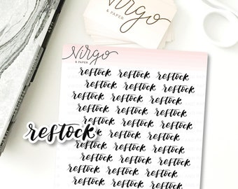 Restock Hand Lettering Planner Label Stickers - Shop Owner Planner Stickers LE32