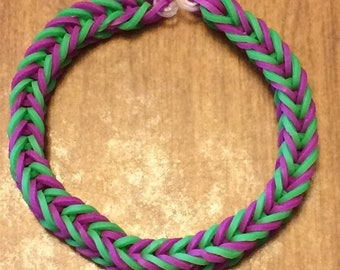 Purple and Green Fishtail Rainbow Loom Rubber Bracelet USA