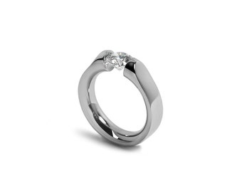 Moissanite Engagement Ring Tension Set in Stainless Steel