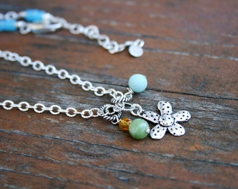 ZEDAISY Amazonite, Jade and Sterling Necklace