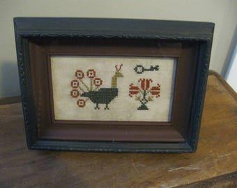 Primitive Framed Sampler Cross Stitch Antique Frame Peacock Key Floral