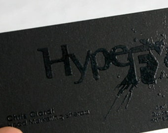 200 business cards blind embossed 14pt matte stock 200 business cards black raised ink 14pt black matte stock custom printed reheart Images