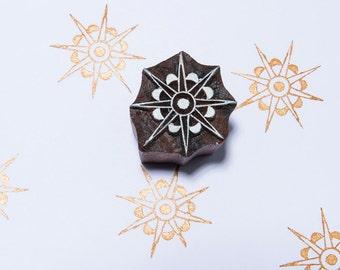 Starburst 163, wood block stamp