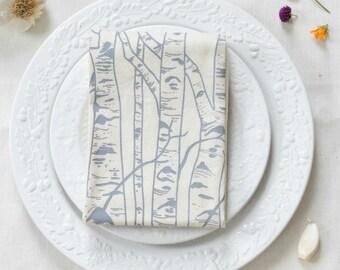 Tea Towel - Organic Cotton - Birch Tree - Screen Printed - Flour Sack Towel - Eco Friendly - Unpaper Towel - Birches - Kitchen Towels - Grey