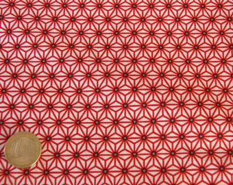 coupon fabric patchwork 25 X 25 cm / graphic red / beige