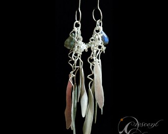 Long Leaf Earrings with Labradorite, Swarovski Crystals and Pearls sterling silver dangle flutter and swing