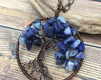 Blue Sodalite Gemstone Tree of Life Copper Wire Wrapped Necklace