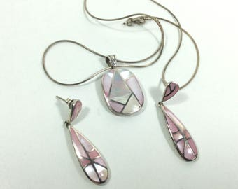 Sterling silver mother of pearl inlay necklace earrings set.