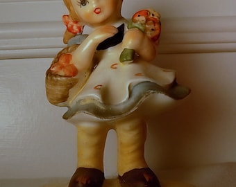 Girl with Bouquet and Apples Figurine, Vintage Lefton Hand Painted