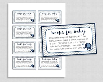 Navy Elephant Baby Shower Book Request, Navy & Grey Chevron Invite Insert, Baby Boy, Books for Baby, DIY Printable, INSTANT DOWNLOAD