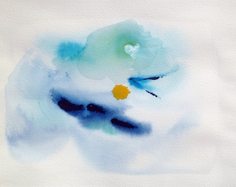 "Original blues and yellow Watercolor painting ""Sky Mystery"" on 9"" x 12"" watercolor paper. Home decor art."