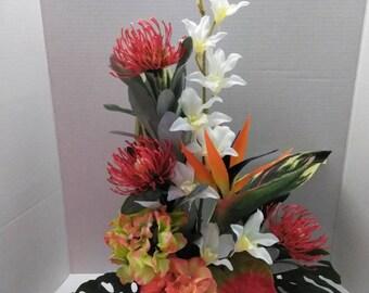 Silk flower arrangement etsy sale tropical silk flower floral arrangement centerpiece mightylinksfo