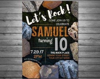 Rocks Birthday Invitations, Digital File, Geology Birthday Invitation, Mining Invitation