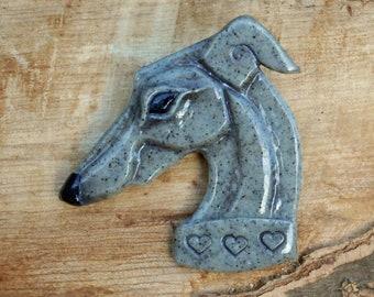 Greyhound brooch 'grey granite' - Handmade Houndlings - gifts for Sighthound, Whippet, Greyhound, Lurcher, Galgo lovers