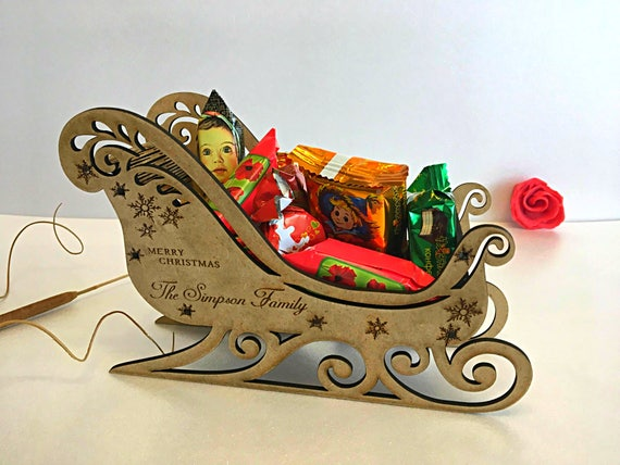Personalised wooden handmade Santa's sleigh Christmas Eve box Personalized Christmas gift Engraved Christmas Santa ornament Christmas decor