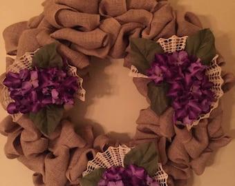 Large burlap and hydrangea wreath