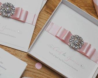VINTAGE Wedding Invitation, HANDMADE Wedding Invite, POCKETFOLD Invitation with Satin Ribbon Bow, Luxury Wedding Invitation Sample