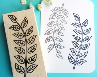 Contemporary Leafy Stem Branch Rubber Stamp  - Handmade by BlossomStamps
