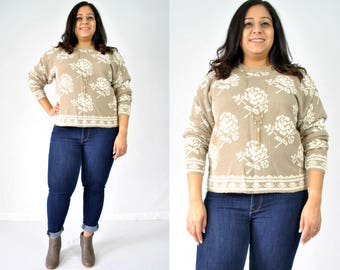1990s Beige Floral Sweater
